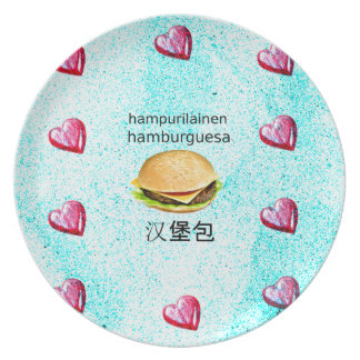 Hamburger In Finnish, Spanish, And Chinese Plate