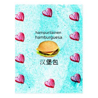 Hamburger In Finnish, Spanish, And Chinese Postcard