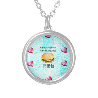 Hamburger In Finnish, Spanish, And Chinese Silver Plated Necklace