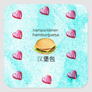 Hamburger In Finnish, Spanish, And Chinese Square Sticker