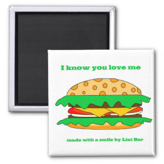 hamburger love square magnet
