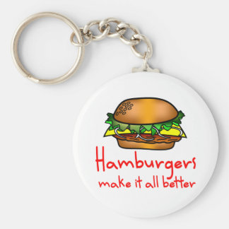 Hamburger Lover Basic Round Button Key Ring