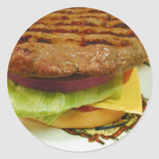 Hamburger Meat Patty Patties Lettuce Tomatoes Buns Classic Round Sticker