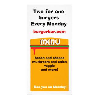 hamburger menu page custom photo card