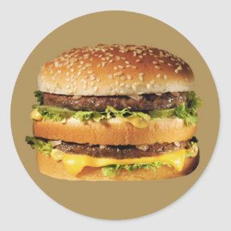 hamburger on tan classic round sticker