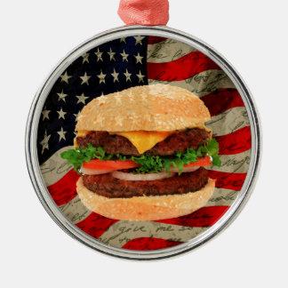 Hamburger Silver-Colored Round Decoration