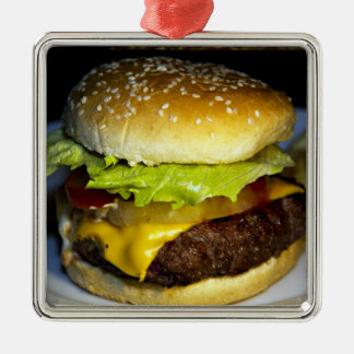 Hamburger Silver-Colored Square Decoration