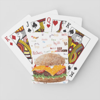 Hamburger with Cheese Fast Food BBQ Diner Playing Cards