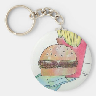 Hamburger with fries basic round button key ring
