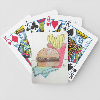 Hamburger with fries bicycle playing cards
