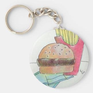 Hamburger with fries key ring