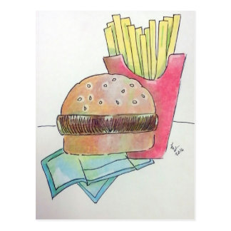 Hamburger with fries postcard