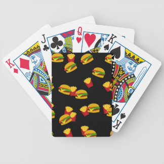 Hamburgers and french fries pattern bicycle playing cards
