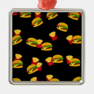 Hamburgers and french fries pattern Silver-Colored square decoration
