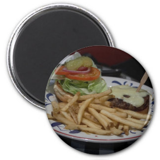 Hamburgers And Fries 6 Cm Round Magnet