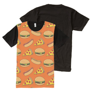 Hamburgers, Hotdogs and Pizza All-Over Print T-Shirt