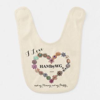HAMbWG - Baby Bib -Jeweled Heart