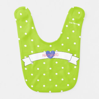 HAMbWG - Baby Bib - White Polka Dots on Lime
