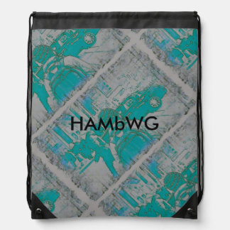 HAMbWG - Drawstring Backpack -Aqua Grey Backpacker