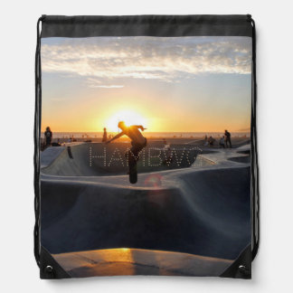 HAMbWG Drawstring Backpack -Skateboard in Sunset