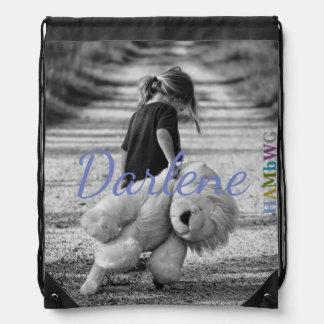 HAMbWG  Drawstring Bag Girl with Giant Teddy Bear