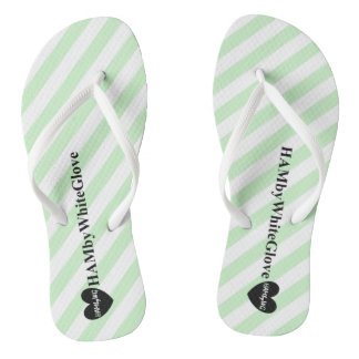HAMbWG - Flip-Flop - Lime Stripe Heart Logo Thongs