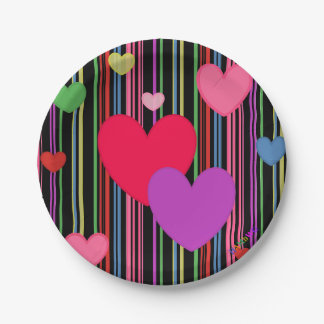 HAMbWG - Paper Goods - Multi Color Hearts Paper Plate