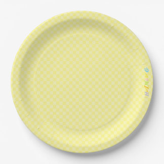 HAMbWG - Paper Goods - Yellow Gingham w Logo Paper Plate