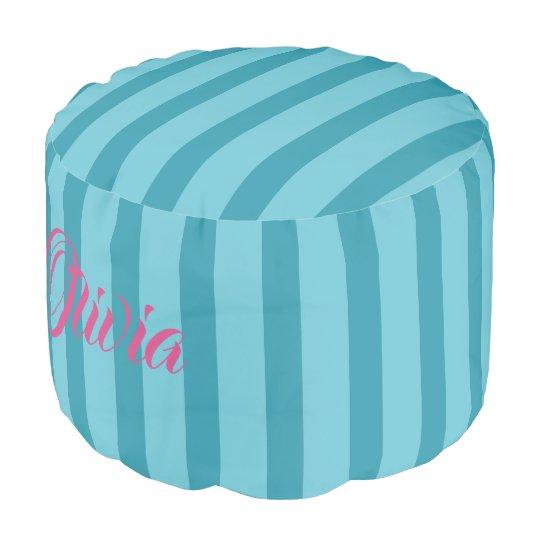 HAMbWG Pouf Chair -  Aqua Stripes