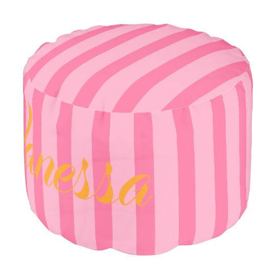 HAMbWG Pouf Chair - Peachy Pink Stripes