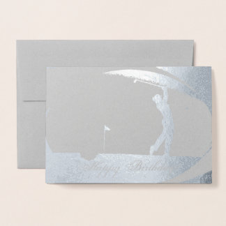 HAMbWG - Silver Foil Card - Woman Golfer