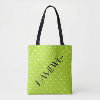 HAMbWG - Tote Bag - Lime w Polka Dot