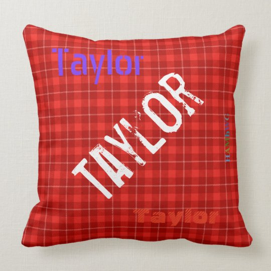 HAMbWG Vanity Pillow - Add your name - Red Plaid