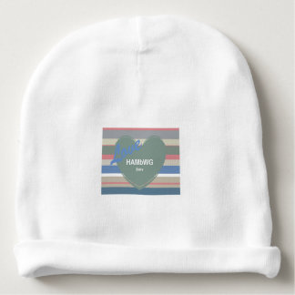 HAMbyWG - Baby Beanie Hat - Sage Heart on Stripes