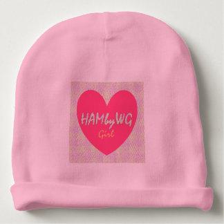 HAMbyWG Baby Cotton Beanie Gingham Heart Logo Pink Baby Beanie