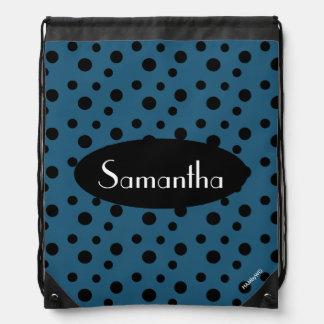 HAMbyWG - Black Polka Dots Drawstring Bag
