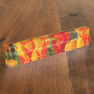HAMbyWG Desk Name Plate - Yellow Red Tulips