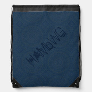 HAMbyWG Drawstring Backpack - Dark Blue Bohemian
