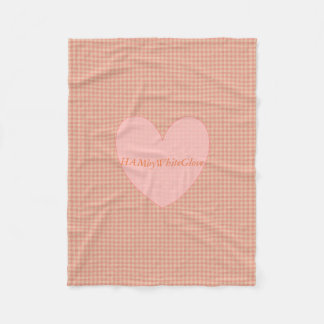 HAMbyWG - Fleece Blanket - Peach Gingham w heart