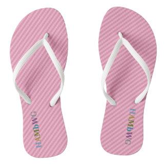 HAMbyWG - Flip-Flops -  Light Pink w Multi Logo Thongs