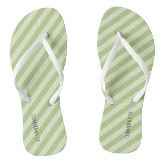 HAMbyWG - Flip-Flops -  Lime Stripe w Multi Logo Thongs