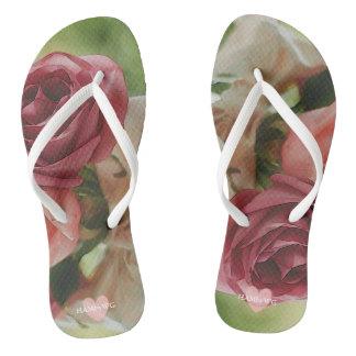 HAMbyWG - Flip-Flops - Watercolor Roses Thongs