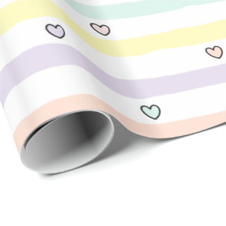 HAMbyWG - Gift Wrap - Pastel Hearts & Stripes