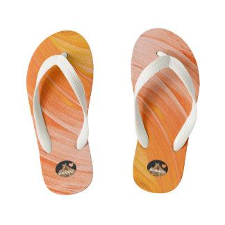 HAMbyWG Girls Flip-Flops - Orangy Swirl Kid's Thongs