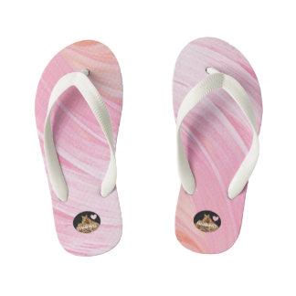 HAMbyWG Girl's Flip-Flops - Pink Peach Swirl Kid's Thongs
