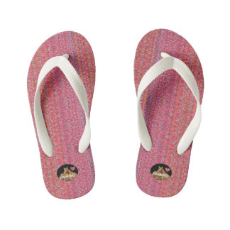 HAMbyWG Kid's Flip-Flops - Pink w/Colors Thongs