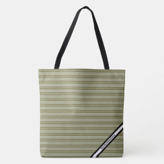 HAMbyWG - LG Tote Bag - Olive Horizontal Stripes