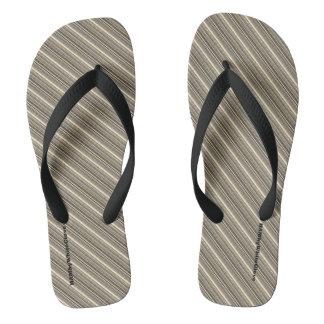 HAMbyWG - Mens Flip-Flops Brown/Beige Mix Stripes Thongs