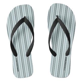 HAMbyWG - Mens Flip-Flops Light Blue Stripes Thongs