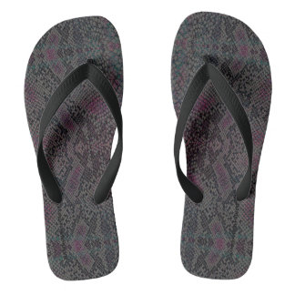HAMbyWG - Mens Flip-Flops  Snake - w Pink Charcoal Thongs